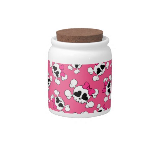 Fun pink skulls and bows pattern candy jars