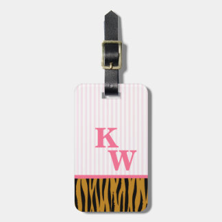 Fun Pink Stripes & Tigerprint Monogram Luggage Tag