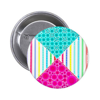 Fun Pink Teal Concentric Circles Stripes Pattern Button