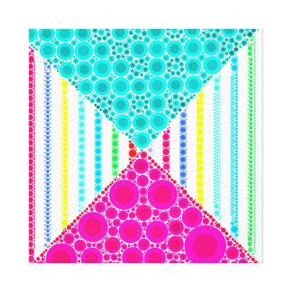 Fun Pink Teal Concentric Circles Stripes Pattern Canvas Print