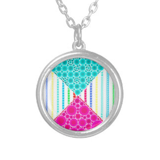 Fun Pink Teal Concentric Circles Stripes Pattern Personalized Necklace