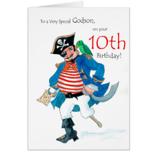 Fun Pirate 10th Birthday Card for Godson