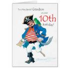 Fun Pirate 10th Birthday Card for Grandson
