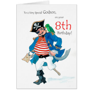 Fun Pirate 8th Birthday Card for Godson