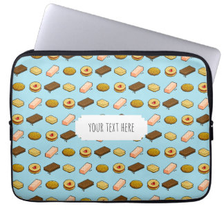 Fun Pixel Art Biscuits & Cookies Pattern With Text Laptop Sleeve