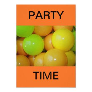 Fun Plastic Balls Party Time 13 Cm X 18 Cm Invitation Card