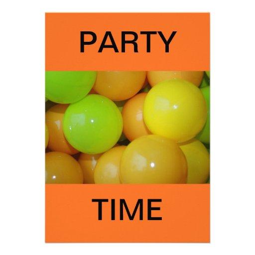 Fun Plastic Balls Party Time Custom Invitations