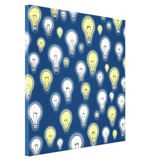 Fun Playful Glowing Light Bulbs Inspiration Stretched Canvas Prints