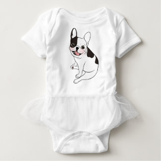 Fun playtime for the Single hooded pied Frenchie Baby Bodysuit