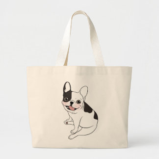 Fun playtime for the Single hooded pied Frenchie Large Tote Bag