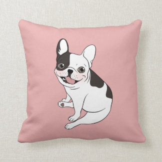 Fun playtime for the Single hooded pied Frenchie Throw Pillow