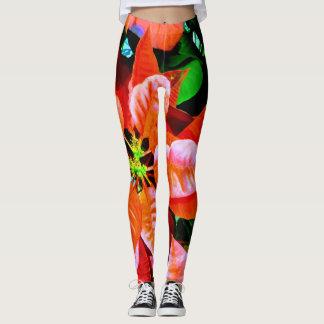 Fun Poinsettia Print Design Leggings