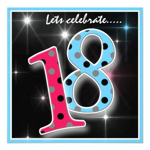 Fun Polka Dot 18th Birthday Party Invitation