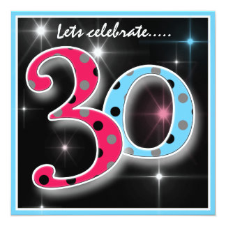 Fun Polka Dot 30th Birthday Party Invitation