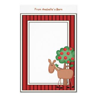 Fun Pony Apple Tree Barn Frame Kids Writing Paper Custom Stationery