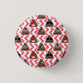 Fun Poop Emoji Red ZigZag Pattern 3 Cm Round Badge