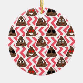 Fun Poop Emoji Red ZigZag Pattern Ceramic Ornament