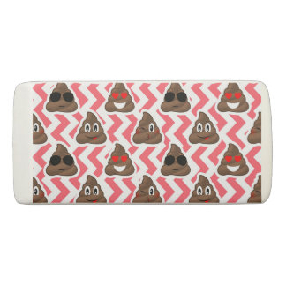 Fun Poop Emoji Red ZigZag Pattern Eraser