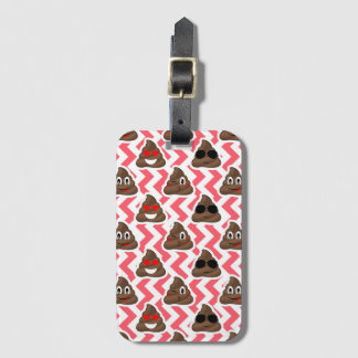 Fun Poop Emoji Red ZigZag Pattern Luggage Tag