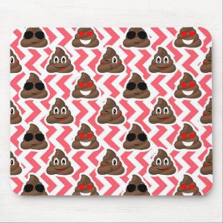 Fun Poop Emoji Red ZigZag Pattern Mouse Pad