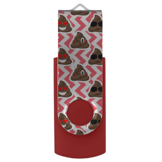 Fun Poop Emoji Red ZigZag Pattern USB Flash Drive