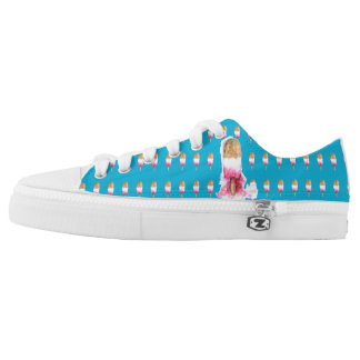 Fun Popsicle low top zip shoes, pink and blue Printed Shoes