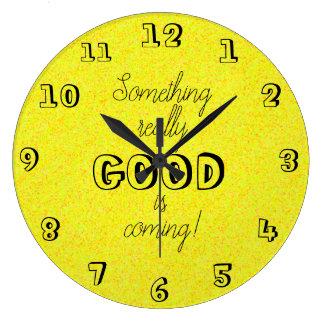 Fun Positive Words Design Inspirational Yellow Large Clock