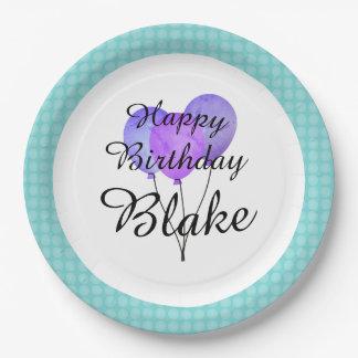 """Fun Prints_Balloons-Aqua--Monogram-Birthday II Paper Plate"