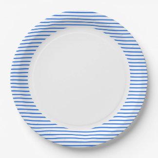 """Fun Prints"" Nautical_Blue-Stripes_Unisex Paper Plate"