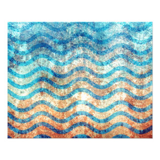 """Fun Psychedelic Blue and Gold Wave Pattern 4.5"""" X 5.6"""" Flyer"""