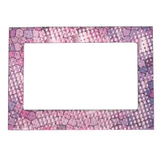 Fun Psychedelic Pink with a Splatter of Pink Dots Magnetic Picture Frame