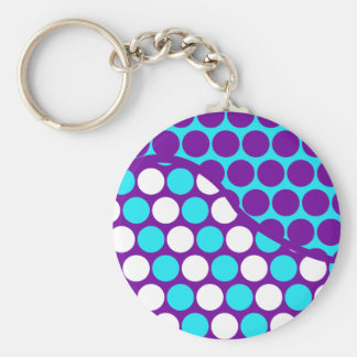 Fun Purple and Teal Polka Dot Wave Pattern Basic Round Button Key Ring
