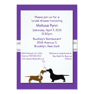 Fun Purple Dachshunds Bridal Shower Invitation