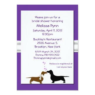 Fun Purple Dachshunds Bridal Shower Invitation