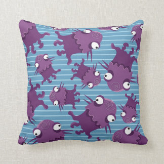 Fun Purple Monsters Creatures Blue Gifts for Kids Throw Pillows