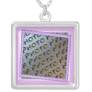 Fun Purple Polkadot Photo Frame Necklace