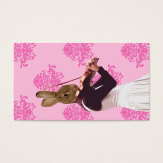 Fun rabbit playing violin business card