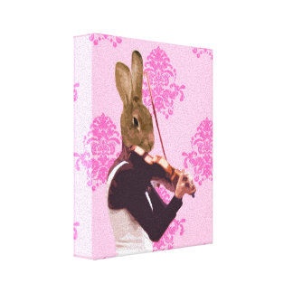 Fun rabbit playing violin canvas prints