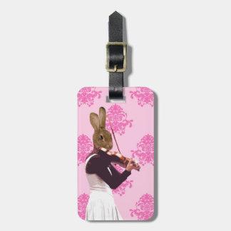 Fun rabbit playing violin luggage tag