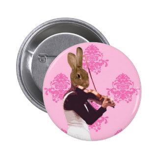 Fun rabbit playing violin pinback button