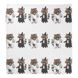 Fun Raccoon Bride and Groom Wedding Art Bandanna
