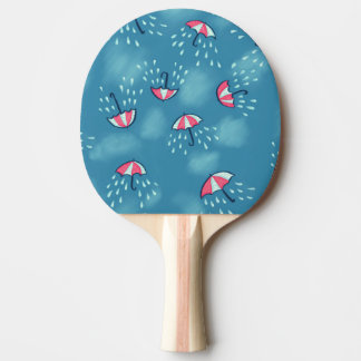 Fun Raining Cartoon Umbrella Pattern Ping Pong Paddle