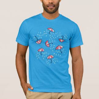Fun Raining Cartoon Umbrella Pattern T-Shirt