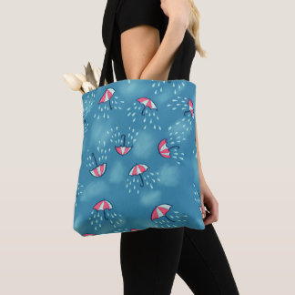 Fun Raining Cartoon Umbrella Pattern Tote Bag