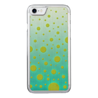 Fun Random Dots Green over Turquoise Background Carved iPhone 7 Case