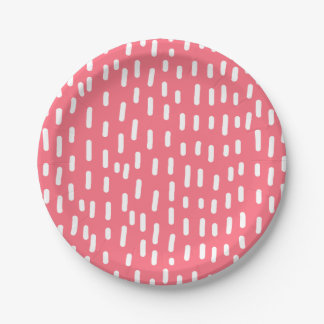 Fun Raspberry Pink Abstract Pattern Paper Plate