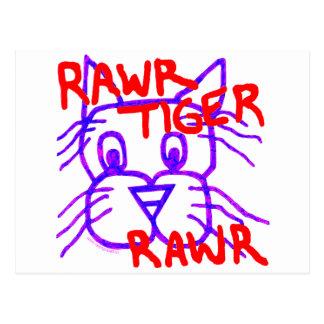 Fun Rawr Tiger Rawr Art Post Card