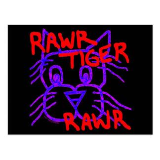 Fun Rawr Tiger Rawr Colorful Cat Art Post Card