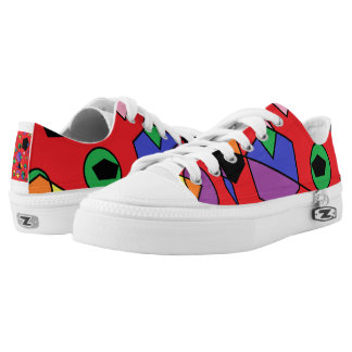 Fun red abstract printed shoes
