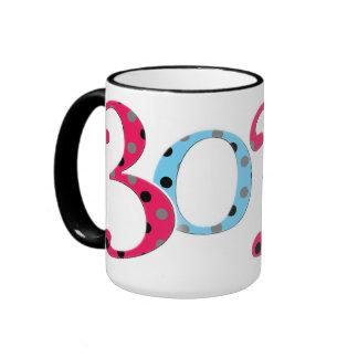 Fun Red and Blue Dotty Thirtieth Birthday Mug